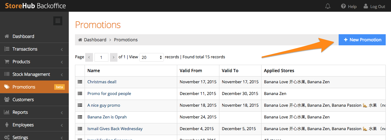 StoreHub BackOffice promotions feature screenshot