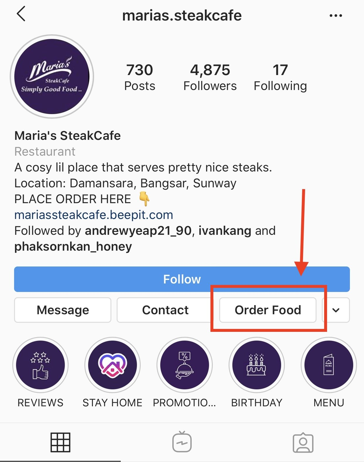 Instagram Profile Food Orders action button StoreHub partner