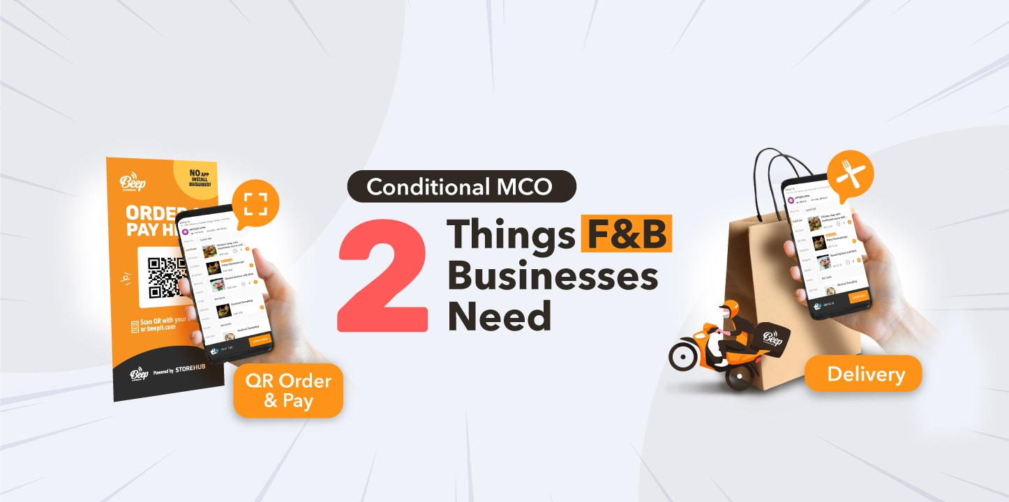 Malaysia conditional MCO Movement Control Order F&B business cafe restaurant outlet requirement contactless payment ordering food delivery StoreHub POS system blog cover thumbnail
